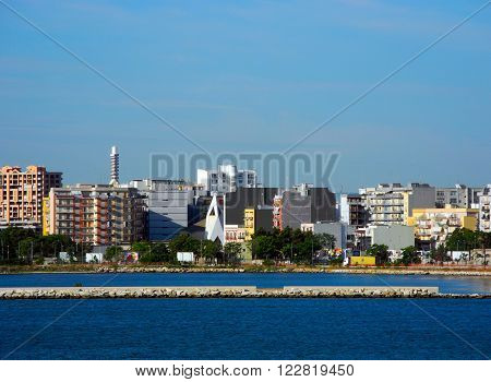 Buildings on the Bari coast in Italy.