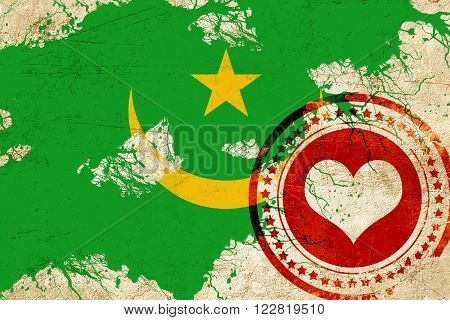 Mauritania flag with some soft highlights and folds