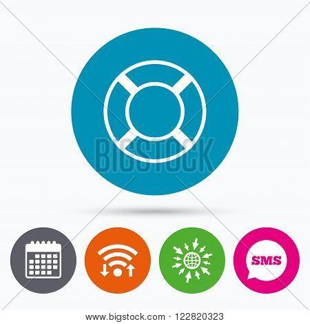 Wifi, Sms and calendar icons. Lifebuoy sign icon. Life salvation symbol. Go to web globe.