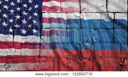 USA  and Russia  flags, with brick wall texture and and cracks