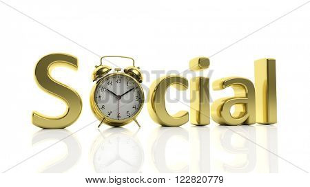 3D golden word Social with alarm clock as letter