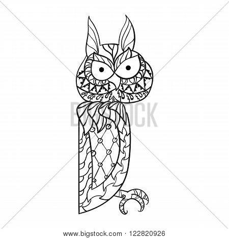 Patterned owl zentangle style. Good for T-shirt, bag or whatever print. EPS 10 vector illustration