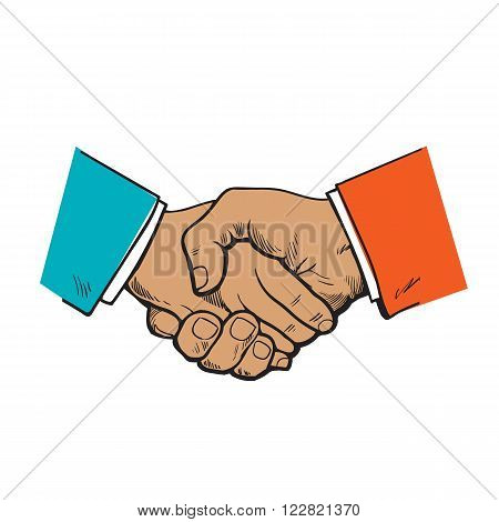 Painted handshake. Vector the partnership. symbol of friendship, partnership and cooperation. Sketch handshake. A strong handshake. Business and handshake. The cooperation of people, firms.