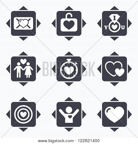 Icons with direction arrows. Love, valentine day icons. Target with heart, oath letter and locker symbols. Couple lovers, boyfriend signs. Square buttons.