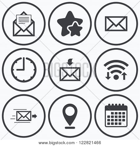Clock, wifi and stars icons. Mail envelope icons. Message document delivery symbol. Post office letter signs. Inbox and outbox message icons. Calendar symbol.