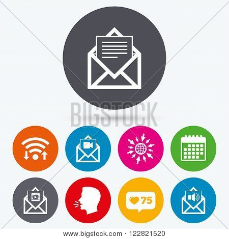 Wifi, like counter and calendar icons. Mail envelope icons. Message document symbols. Video and Audio voice message signs. Human talk, go to web.