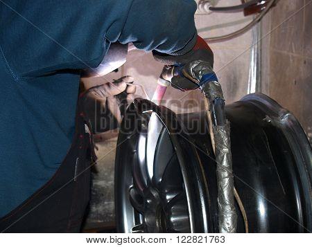 argon welding, repair of broken titanium disk