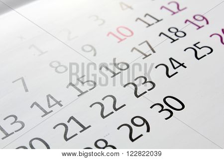 White calendar month with the principle focus.