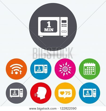 Wifi, like counter and calendar icons. Microwave oven icons. Cook in electric stove symbols. Heat 1, 2, 3 and 4 minutes signs. Human talk, go to web.