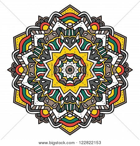 Ornate zentangle mandala. Vector illustration of cute ornate zentangle mandala