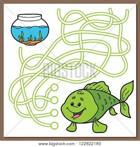 Cute fish game. Vector illustration of maze (labyrinth) game with cute cartoon fish for children