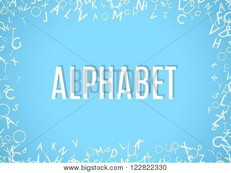 Abstract white alphabet ornament frame isolated on blue background. Vector illustration for education writing design. Random letters flying around. Alphabet book concept for grammar school