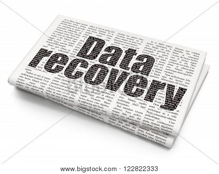 Data concept: Data Recovery on Newspaper background