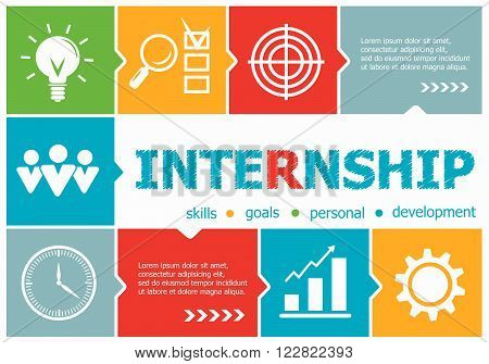 Internship Design Illustration Concepts For Business, Consulting, Management, Career.