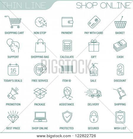 Thin line shopping vector interface icon set.