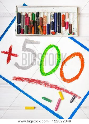 Colorful drawing: Social policy in Poland - a program to support families. 500 PLN for second and next child.