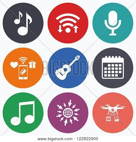 Wifi, mobile payments and drones icons. Music icons. Microphone karaoke symbol. Music notes and acoustic guitar signs. Calendar symbol.