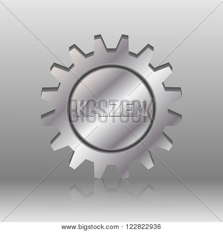 Kaizen text in a silver metal gear wheel. Kaizen is Japanese method of business that improves process management and production.