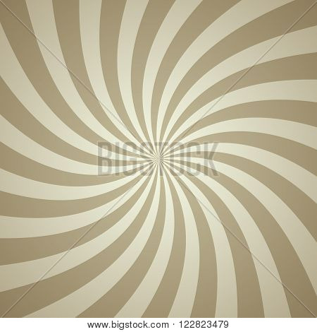 Swirling radial pattern background. Vector illustration for swirl design. Vortex starburst spiral twirl square. Helix rotation rays. Converging psychadelic scalable stripes. Fun sun light beams.