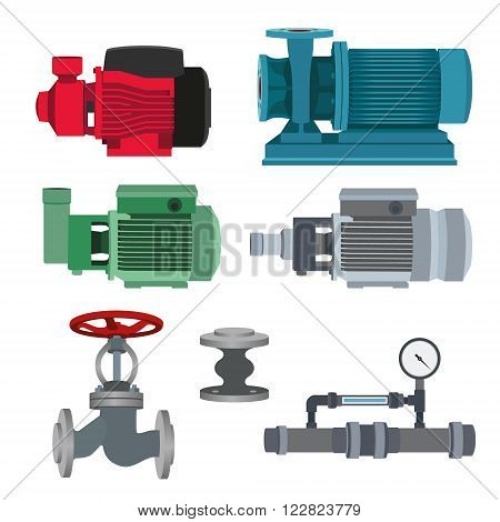 Set - water motor, pump and valves for pipeline. Vector illustration