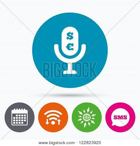 Wifi, Sms and calendar icons. Microphone icon. Speaker symbol. Paid music sign. Go to web globe.