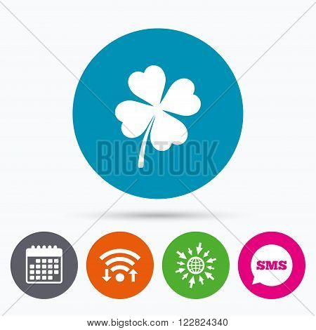 Wifi, Sms and calendar icons. Clover with four leaves sign icon. Saint Patrick symbol. Go to web globe.