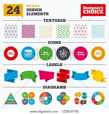 Banner tags, stickers and chart graph. Most popular star icon. Most viewed symbols. Clients or customers choice signs. Linear patterns and textures.