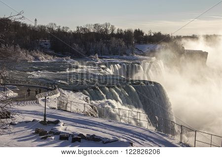 observation road at Niagara Falls on the border Ontario river between the USA and Canada Ontario in winter time