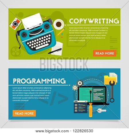 Programming and copywriting, website development and viral marketing concepts. Horizontal banners