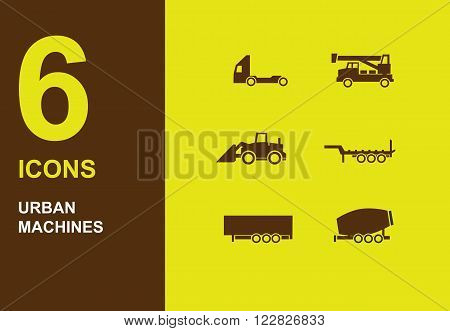 Urban machines dark vector silhuette icons on yellow
