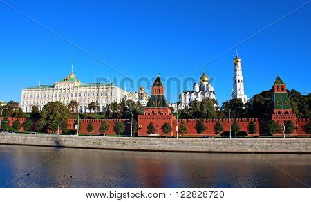 MOSCOW, RUSSIA - SEPTEMBER 17, 2012: Moscow Kremlin and Grand Kremlin Palace on a sunny day. View from the embankment of the Moskva River