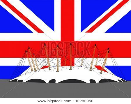 Millennium dome, London and British flag illustration