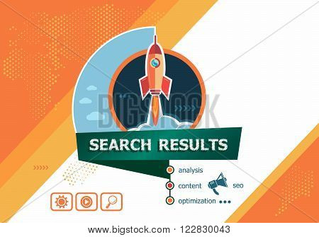 Search results concepts for business analysis planning consulting team work project management. Search results concept on background with rocket.