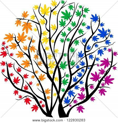 vector image rainbow tree in the shape of a circle