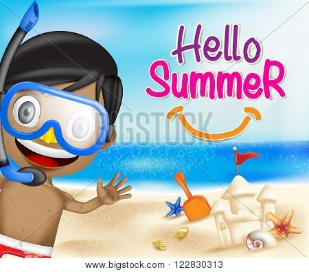 Hello Summer of a Boy Waving Happy in the Seashore of the beach including Seashells and Sand Castle with bright sky blue ocean background. Vector Illustration
