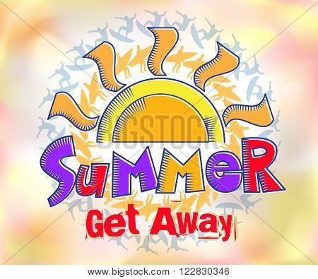 Summer Get Away Colorful Title in Watercolor Effects Background with a Silhouette of the Surfer. Vector Illustration