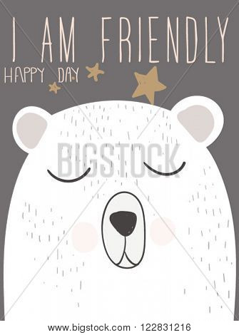 cutie bear illustration for clothing