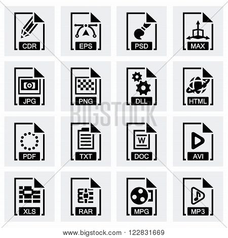 Vector File type icon set on grey background