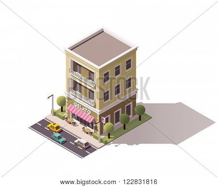 Isometric icon representing ice cream cafe building