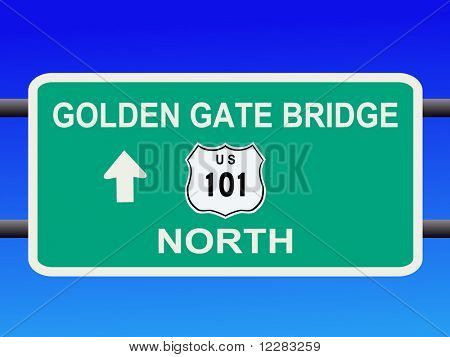 Golden Gate Bridge Highway 101 sign San francisco illustration