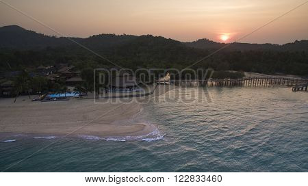 Aerial View Of Payam Island Beautiful Seascape And Traveling Destination In Ranong Province Andaman