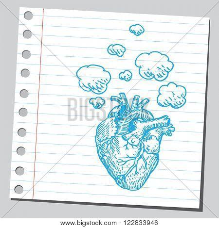 Heart with smoke