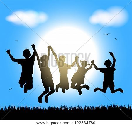 the happy childrens silhouette on sky background