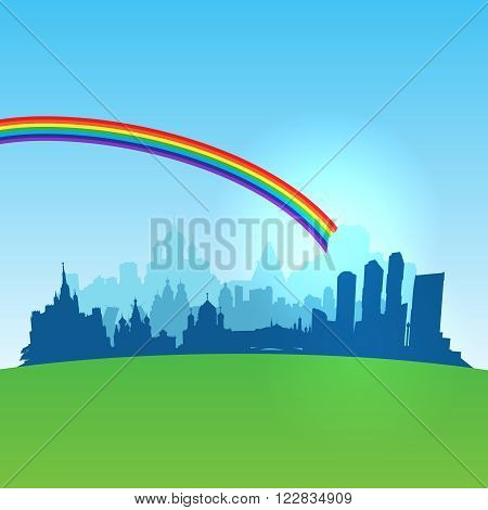Russia cities  silhouette with  optimistic sky. Vector  illustration
