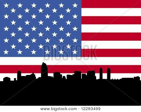 San Diego skyline with American flag illustration