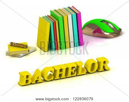 3D illustration BACHELOR inscription bright volume letter and textbooks and computer mouse on white background