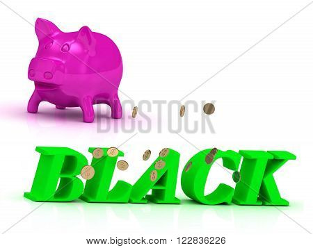 3D illustration BLACK bright of green letters and rose Piggy on white background