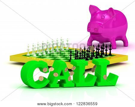 3D illustration CALL bright word money pink piggy yellow chess on white background