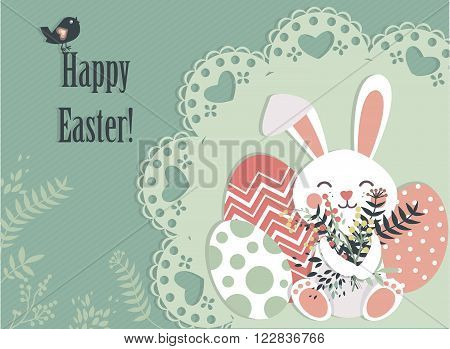 Easter postcard with eggs and cute bunny handling spring flowers