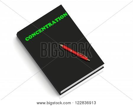 CONCENTRATION- inscription of green letters on black book on white background